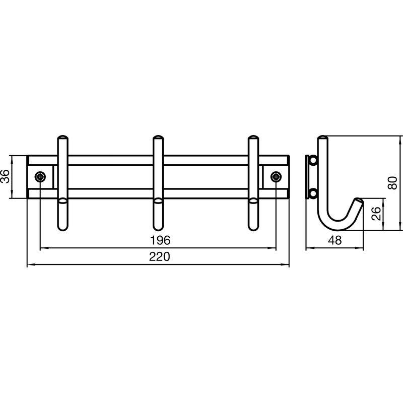 Garderobenleiste Satis mit 5 Haken Edelstahl gebürstet Breite 380 mm