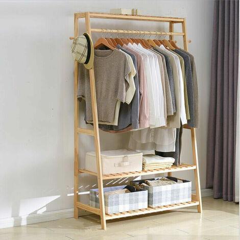 Garderobenständer Bambus, Kleiderständer mit 3 Ablagen und 10 Hanken, Wäscheständer mit Kleiderstange, für Flur, Wohnzimmer und Büro, 80x43.5x165cm