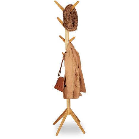 Garderobenständer Bambus, Kleiderständer mit 8 Haken, modernes Tree Design, HxBxT: 179 x 40,5 x 40,5 cm, natur