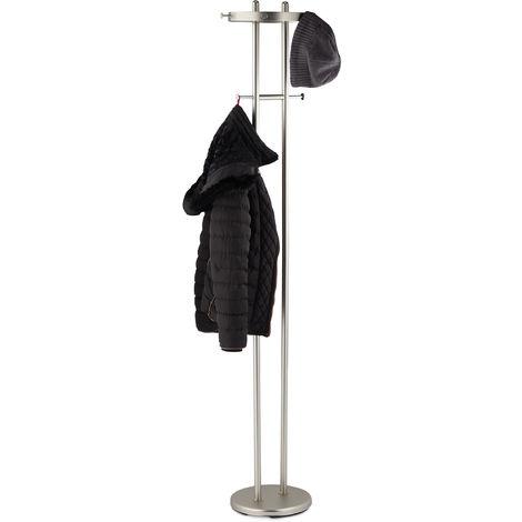 Garderobenständer, matt verchromter Stahl, runder Fuß, Garderobe mit 8 Haken, Flur, HBT: 183x37x34cm, silber