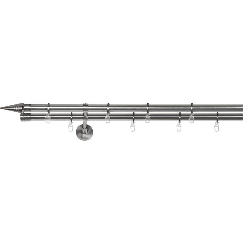 Gardinenstange auf Maß 20mm Spitze 2-lauf Vorhangstange Doppelträger Wire Stilgarnitur mit Ringen für Vorhänge - Edelstahl-Optik - 340 cm