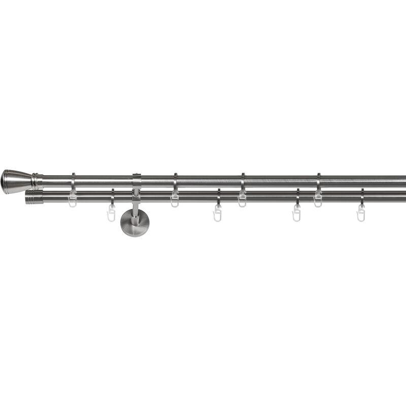 Gardinenstange auf Maß 20mm Swing 2-lauf Vorhangstange Doppelträger Wire Stilgarnitur mit Ringen für Vorhänge - Edelstahl-Optik - 350 cm