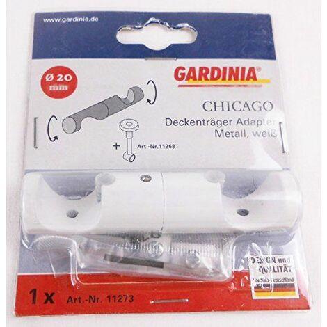 Gardinia 11273Couverture Support adaptateur pour tringles, Serie Chicago, diamètre 20mm, blanc