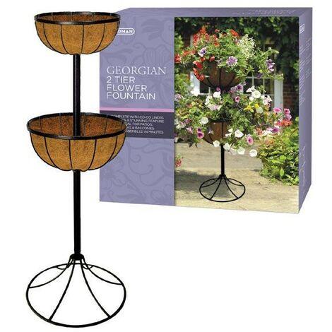 Gardman 00903 Georgian Metal 2 Tier Flower Fountain Patio Planter Wrought Iron