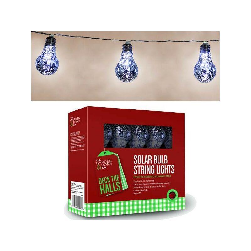 Image of 18824 8 Silver Foil Bulb String Lights Lightbulbs LED Battery Garden - Gardman