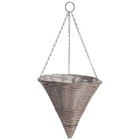 Gardman 35cm 14 Inch Rattan Effect Hanging Basket Cone Light Grey Planter