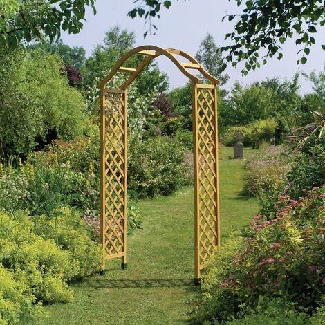 Gardman Elegant Wooden Garden Arch Pergola In Tan Sturdy Plant Support