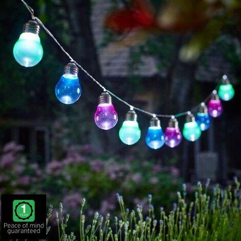 Gardman L24304 10 Solar Bulb String Lights Coloured Lightbulbs LED Cole & Bright