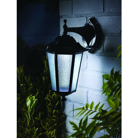 Gardman L26414 Motion Sensor Black Uffington Lantern Wall Solar Light