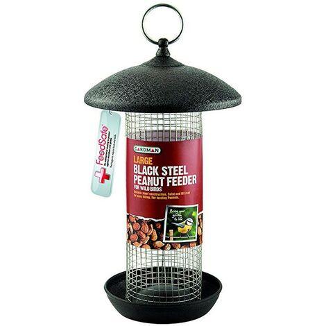 Gardman Large Black Metal Steel Peanut Wild Bird Hanging Garden Feeder A01481