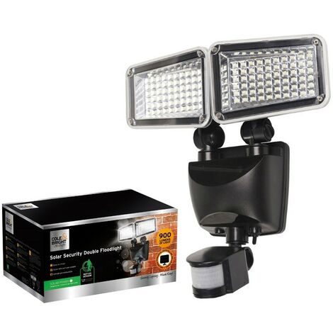 Gardman Solar PIR Security Wall Light LED Double Floodlight Motion Sensor Bright