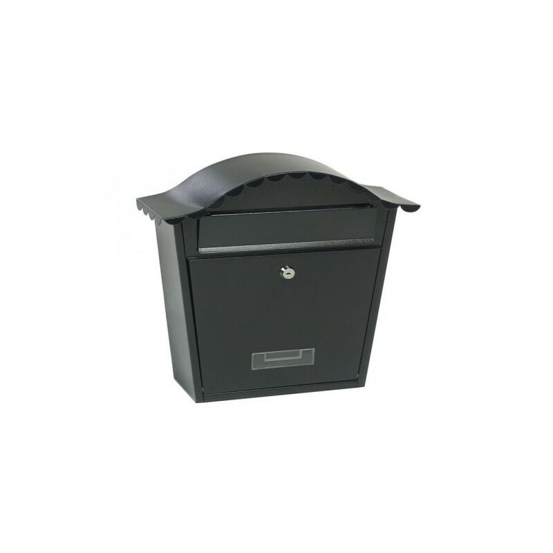 Image of 17250 Traditional Post Letter Mail Box Black Steel Wall Mounted - Gardman