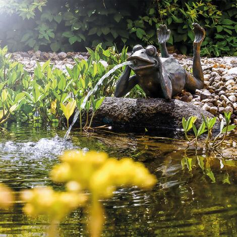 Gargouille grenouille + pompe solaire d'étang 8 watts d'eau étang esotec 101650