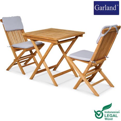 GARLAND 3-Piece Seating Group Bristol Balcony Table 2 Folding Chairs Teak Wood SVLK Certified Cushions Foldable Outdoor Garden Furniture Set