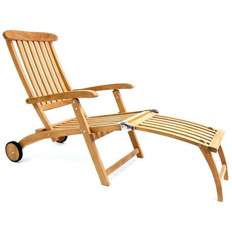 Garland Deck Chair Bari Castors Armrests Adjustable Teak Wood SVLK-certified Foldable Garden Sun Lounger