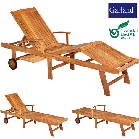 Garland Garden Lounger Breeze Teak Wood Castors Backrest 5-way Adjustable Folding Table Armrests Sun Lounger Outdoor Sun Bed