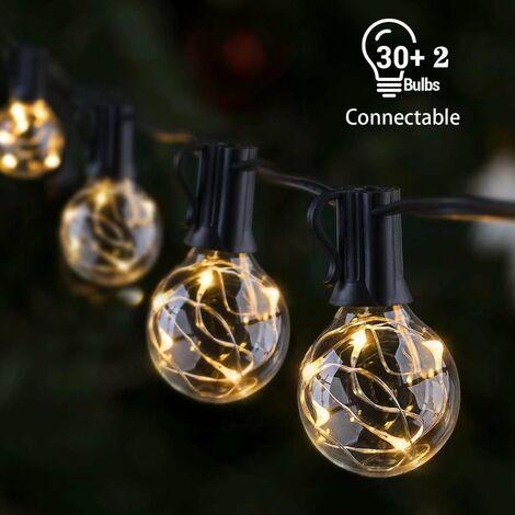 Garland Garland, 30 + 2 bombillas 10M Light Garland 220V IP55 impermeable Garland Garland Decoración para patio, cafetería, jardín (varias compras se pueden conectar de un extremo a otro) [Clase energética A +++]