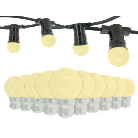 Garland Guinguette 10 Bombillas LED B22 1W Blanco Cálido 10 metros Interconectables
