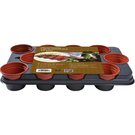 Garland Professional Growing Potting Tray with 12 Plant Pots (11cm)
