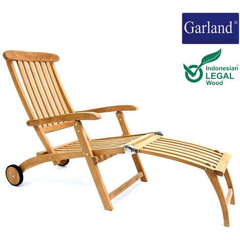 Garland Tumbona de madera teca con ruedas chaiselongue para jardín terraza balcón capacidad 160kg