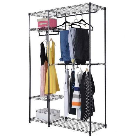Garment Clothes Rack, 4 Tier Iron Wardrobe Triple Rails Freestanding Hanger Clothes Organizers With Storage Shelf (Black)