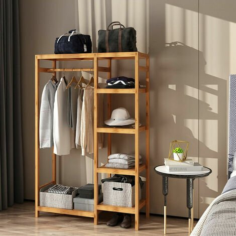 Garment Hanging Stand Rack Hat Clothes Rail Wooden Shoe Storage Shelf w/ Curtain