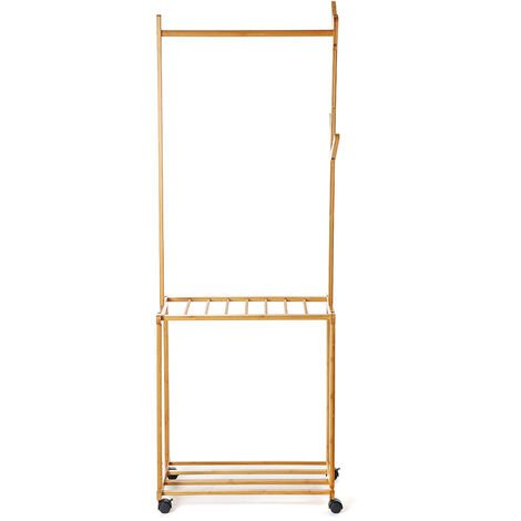 Garment Rack Portable Rolling Clothes Hat Rack Stand 175*37*60cm Wood