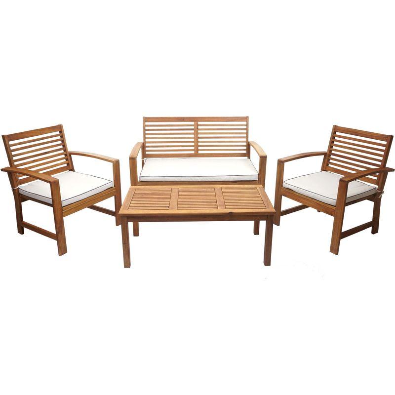 Garniture de jardin HHG-087, ensemble canapé fauteuil, set de balcon, bois massif d'acacia, coussin crème