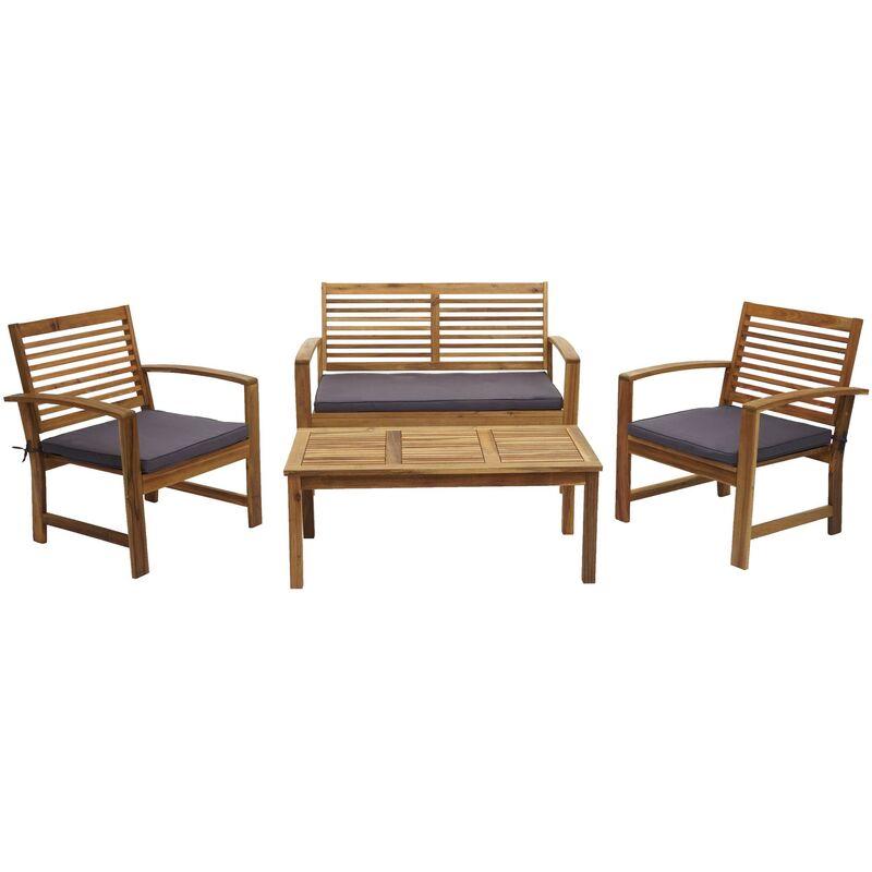 Garniture de jardin HHG-087, ensemble canapé fauteuil, set de balcon, bois massif d'acacia, coussin gris foncé