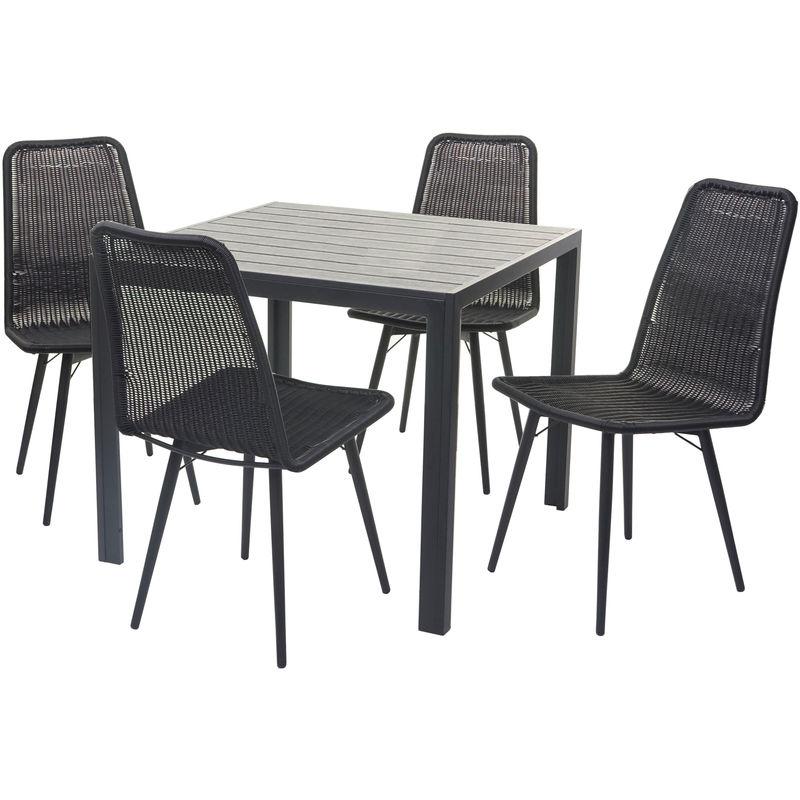 Garniture de jardin 602, set de balcon, plateau de table en WPC, 4x chaise en polyrotin 76x90x90cm ~ noir - HHG