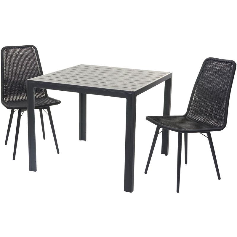 Garniture de jardin 602, set de balcon, table WPC, 2x chaise en polyrotin + table 76x90x90cm ~ noir - HHG