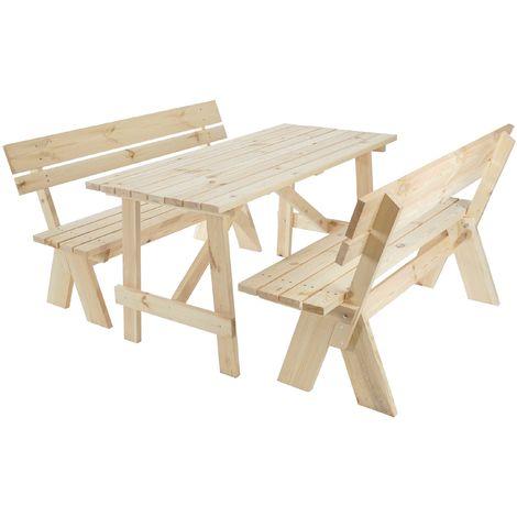 Garniture de jardin Oslo, table + bancs en bois massif, qualité de brasserie, 148 cm ~ nature