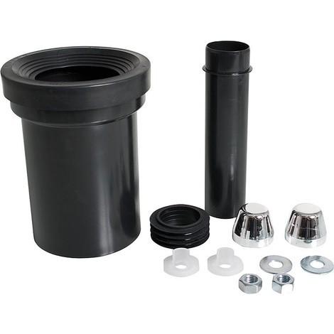 Garniture de raccord pour WC avec tuyau d'ecoulement 110 mm et bouchon blanc