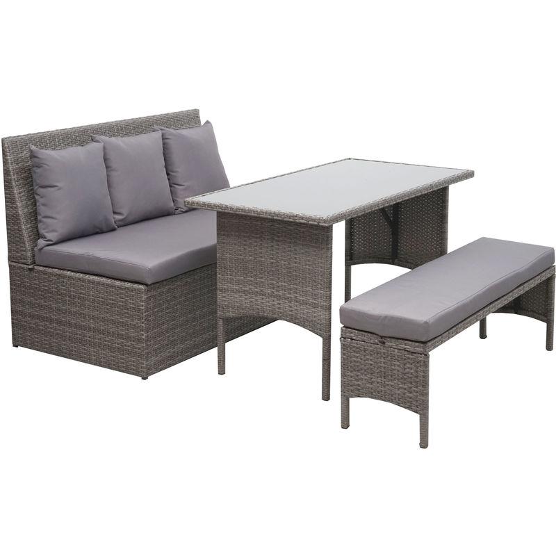 Garniture en polyrotin HHG-860, jardin, gastronomie, canapé 2 places, table, banc ~ gris, coussin gris foncé