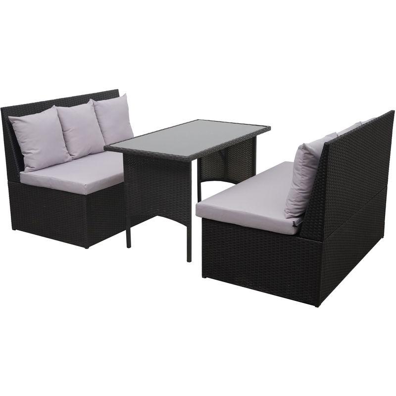 Garniture en polyrotin HHG-862, jardin, gastronomie, 2x canapé 2 places, table ~ noir, coussin gris clair