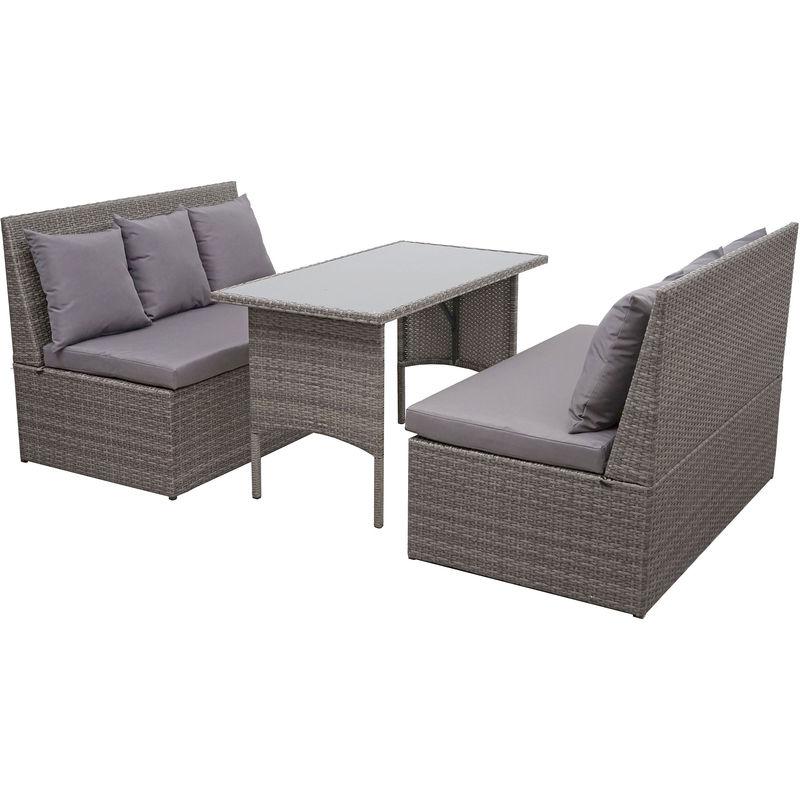 Garniture en polyrotin HHG-862, jardin, gastronomie, 2x canapé 2 places, table ~ gris, coussin gris foncé