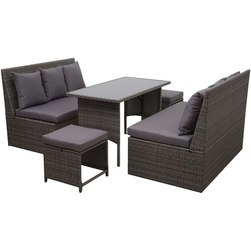 Garniture en polyrotin 864, jardin, 2x canapé 2 places, table, 2x tabouret ~ gris, coussin gris foncé - HHG