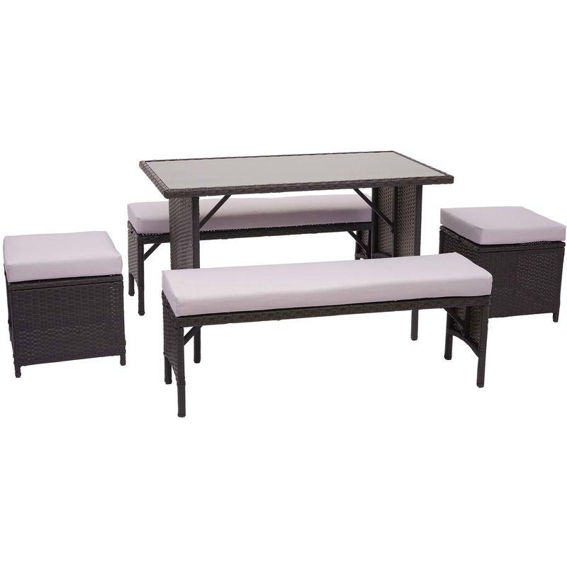 Garniture en polyrotin HHG-866, jardin, gastronomie, 2x banc, table, 2x tabouret ~ noir, coussin gris clair
