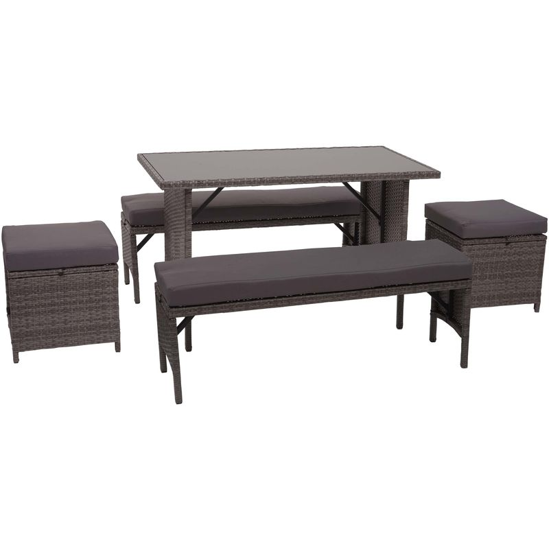 Garniture en polyrotin HHG-866, jardin, gastronomie, 2x banc, table, 2x tabouret ~ gris, coussin gris foncé