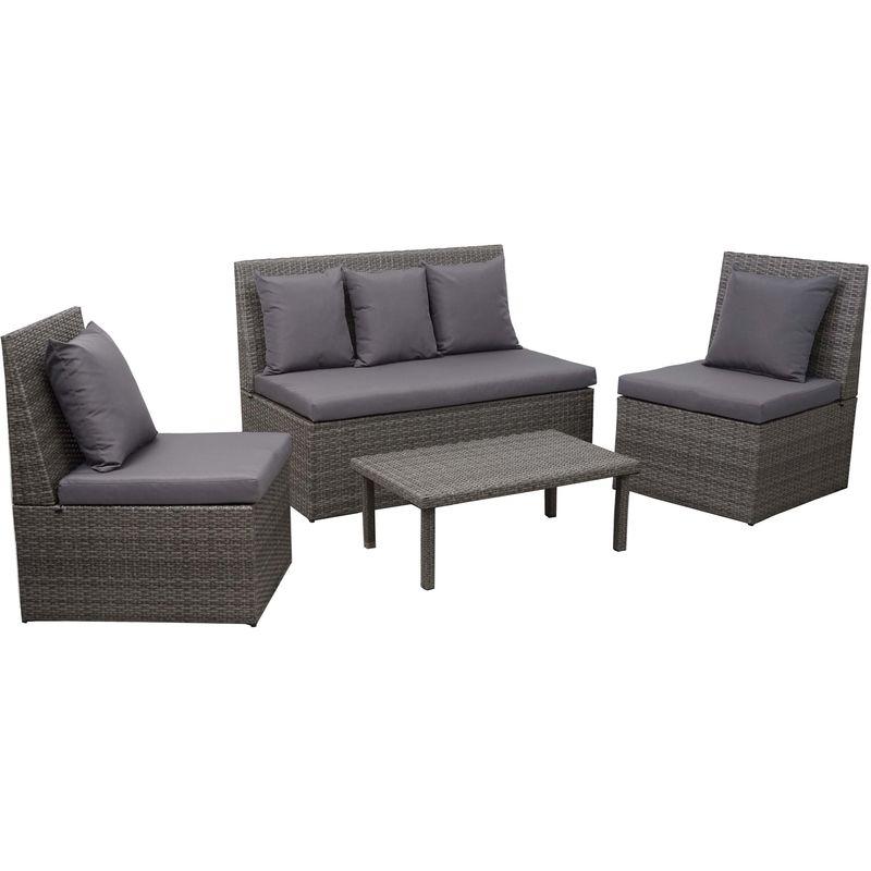 Garniture en polyrotin HHG-878, canapé 2 places, table d'appoint, 2x fauteuil ~ gris, coussin gris foncé