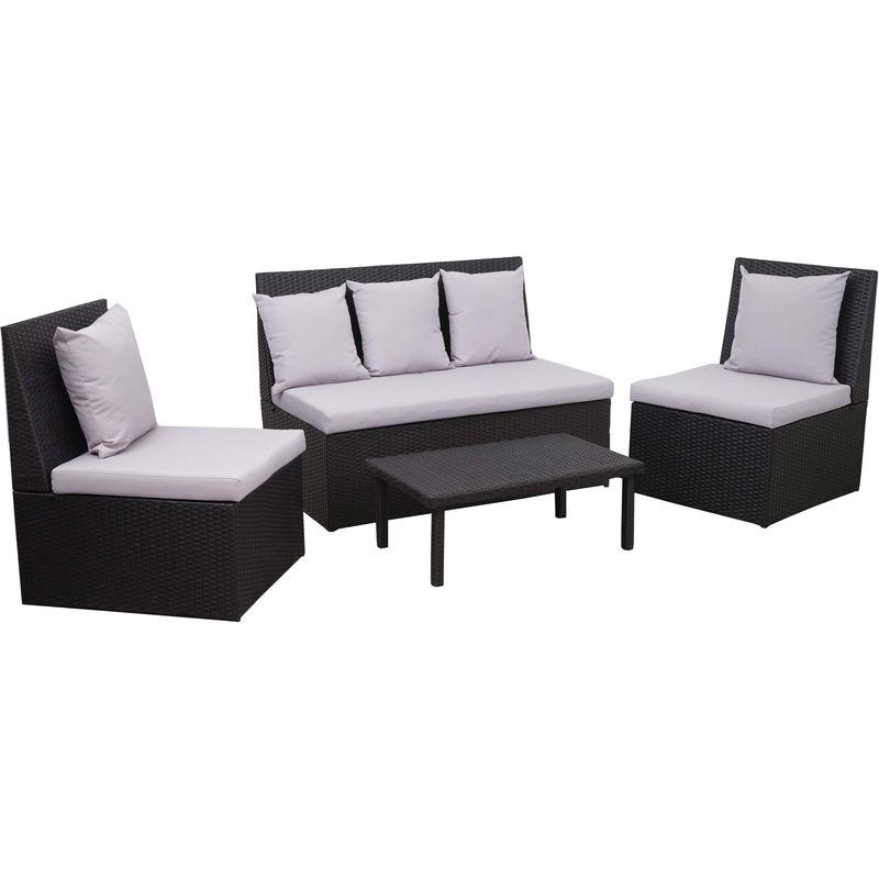 Garniture en polyrotin 878, canapé 2 places, table d'appoint, 2x fauteuil ~ noir, coussin gris clair - HHG