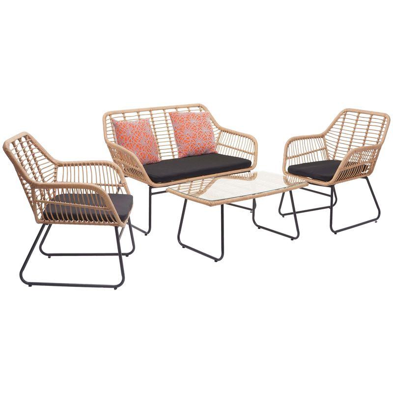 Garniture en polyrotin 947, jardin, couleur naturelle ~ rembourrage anthracite avec coussin de décoration - HHG
