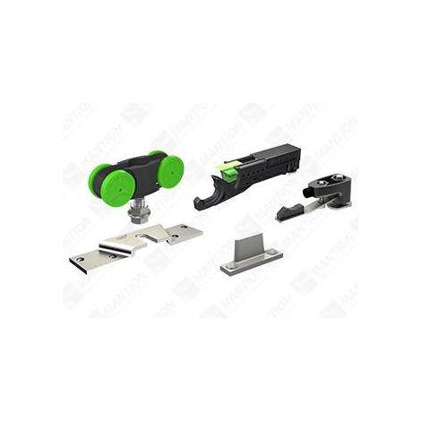 Garniture SAF40 MANTION pour porte 40kg (2 montures + 1 butée arrêt réglable + 1 butée ferme-porte hydraulique + 1 guide 1103 + 1 clé) - SAF40A