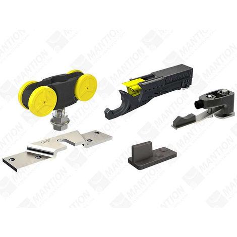 Garniture SAF80 MANTION pour porte 80kg (2 montures +1 butée arrêt réglable + 1 butée ferme-porte hydraulique + 1 guide 1103 + 1 clé) - SAF80A