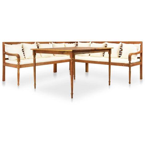 Garten Ecksofa Mit Tisch Und Kissen Akazienholz Massiv