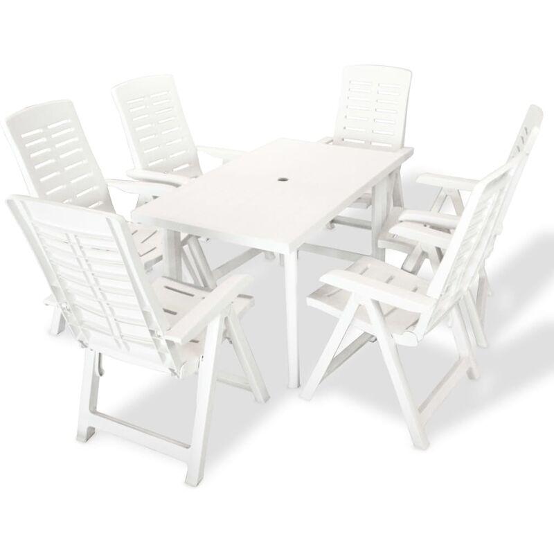 Gartenmöbel 7-tlg. Kunststoff Weiß - VIDAXL