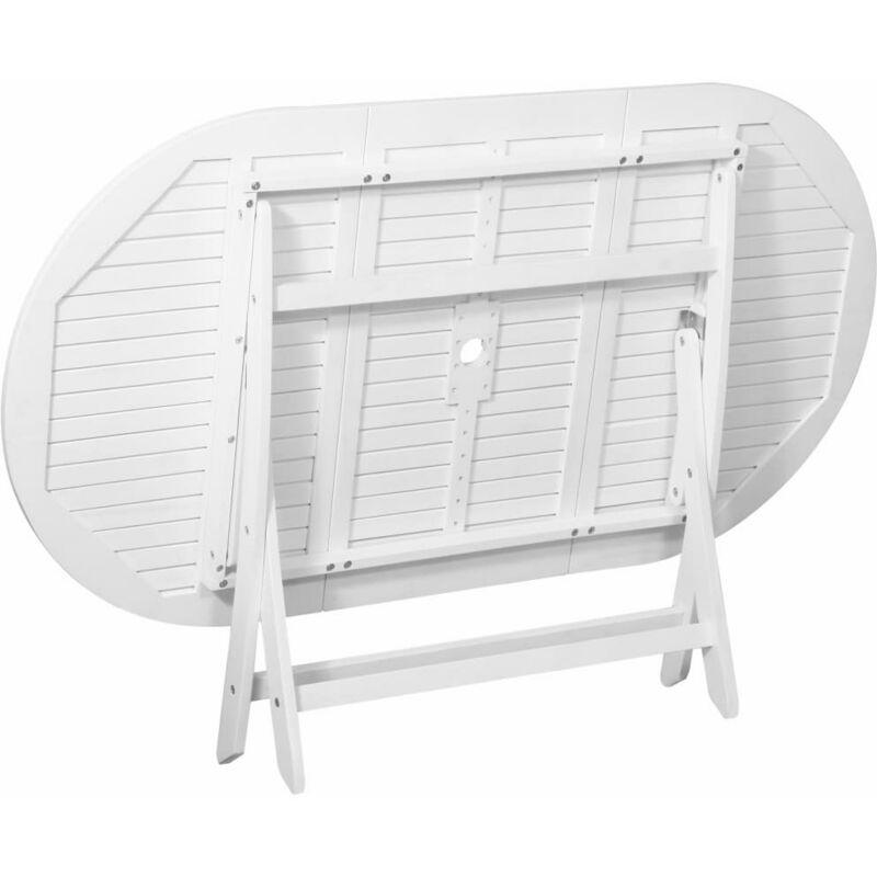 Esstisch oval weiß  Garten-Esstisch Oval Weiß 160 x 85 x 75 cm Akazienholz
