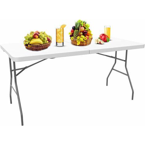 Garten Klapptisch, Klappbarer Tisch , 180 x 74 cm, Weiß, In der Mitte klappbar, Material: HDPE