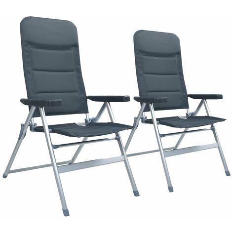 Garten-Liegestühle 2 Stk. Aluminium Grau