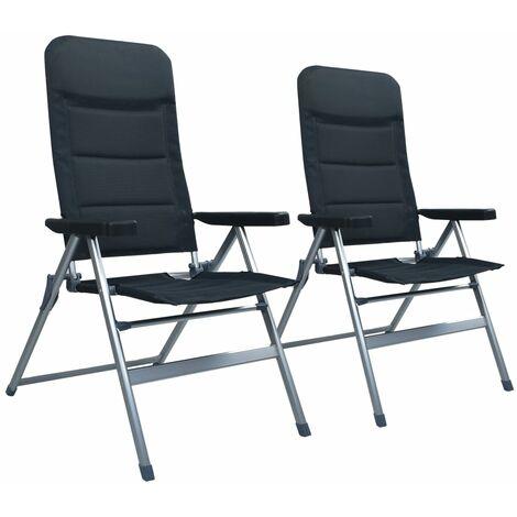 Garten-Liegestühle 2 Stk. Aluminium Schwarz
